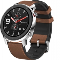 Часы Amazfit GTR 47mm stainless steel case, leather strap RUS