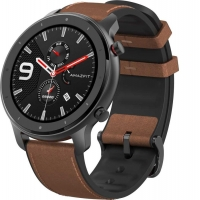 Часы Amazfit GTR 47mm aluminium case, leather strap RUS