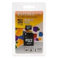Карта памяти Exployd Micro SDHC Class10 32Gb до 45Mb/s с адаптером